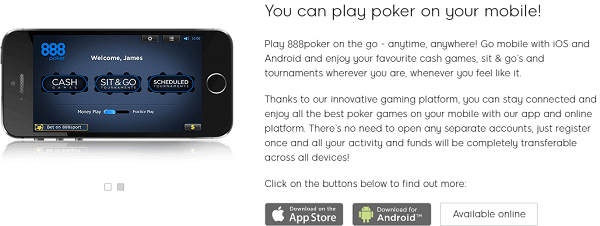 888 Pokerin the UK Mobile
