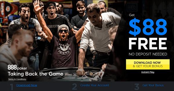 888 Poker: No Deposit Bonus
